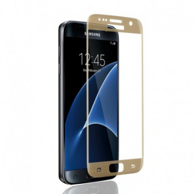 Svoyon Premium Schutzglas Glasfolie 9H für Samsung Galaxy S7 gold Tempered Glass
